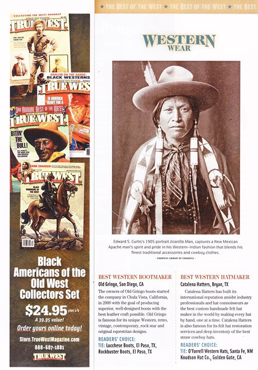 Seen in True West Magazine  Best Western Bootmaker : OLD GRINGO  Reader's choice : LUCCHESE BOOTS Both brand available in the Western Shop in Brussels