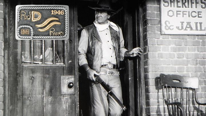 A limited edition buckle created for the 70th Anniversary of the filming of the Red River movie. Howard W. Hawks, the producer of the movie, purchased three Red River D buckles as gifts for himself, John Wayne, and Montgomery Clift. As a sign of friendship, John Wayne traded the buckle with his initials on it with Howard Hawks. John Wayne can be seen wearing this buckle in many of his movies.  Number 26 out of 70  John Wayne was born on May 26th and his ranch was called the 26 bar ranch  Collector !!!!